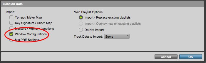 "Make sure ""Window Configurations"" is selected when importing your mix template into a new session"