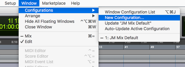 Creating a new Window Configuration