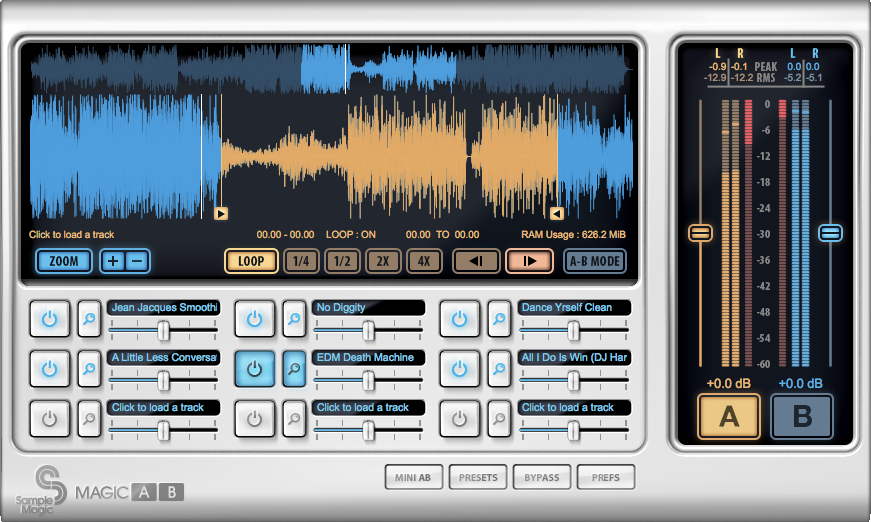 Magic AB plugin with several reference mixes loaded