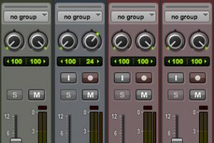 Solo-safeing a group of tracks in Pro Tools (notice that the solo button is greyed out)