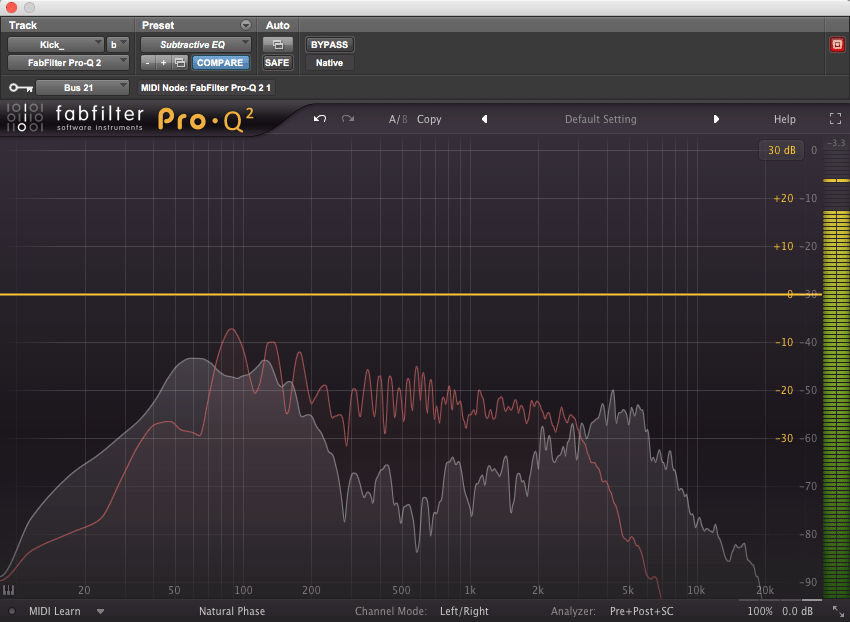 Using an analyzer's sidechain input to compare the frequency makeup of two separate tracks