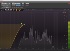 Acoustic guitar EQ: a high-pass filter engaged in FabFilter's Pro-Q 2
