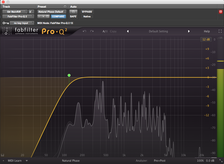 Using a frequency analyzer to help set a track's high-pass filter