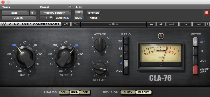 Waves' CLA-76 compressor on bass