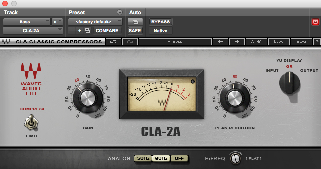 Waves' CLA-2A plugin—great for bass compression!