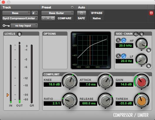 Pro Tools' stock compressor