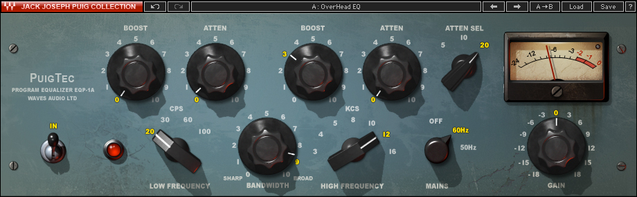 Waves' emulation of a Pultec EQ—great for EQing bass guitar!