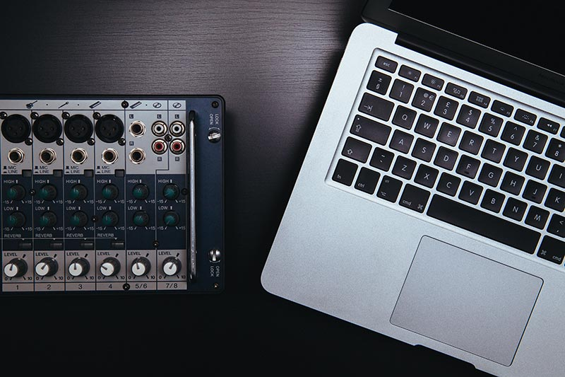 MacBook and mixer
