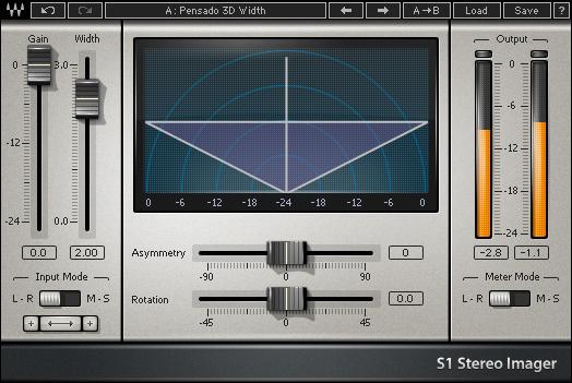 Waves' S1, a popular stereo width enhancement plugin
