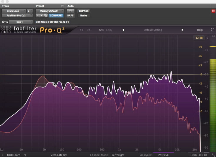 Using the spectrum analyzer in FabFilter's Pro-Q2 to compare the bass and kick