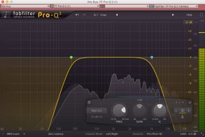 FabFilter's Pro-Q 2, set up with the poor man's Auratone technique