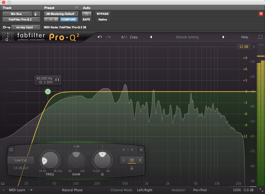 A high-pass filter on the mix bus, set to remove excess low end