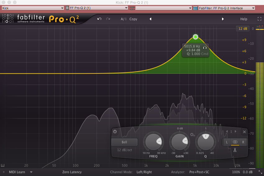 FabFilter's Pro-Q 2, set to boost 5 kHz on a kick drum