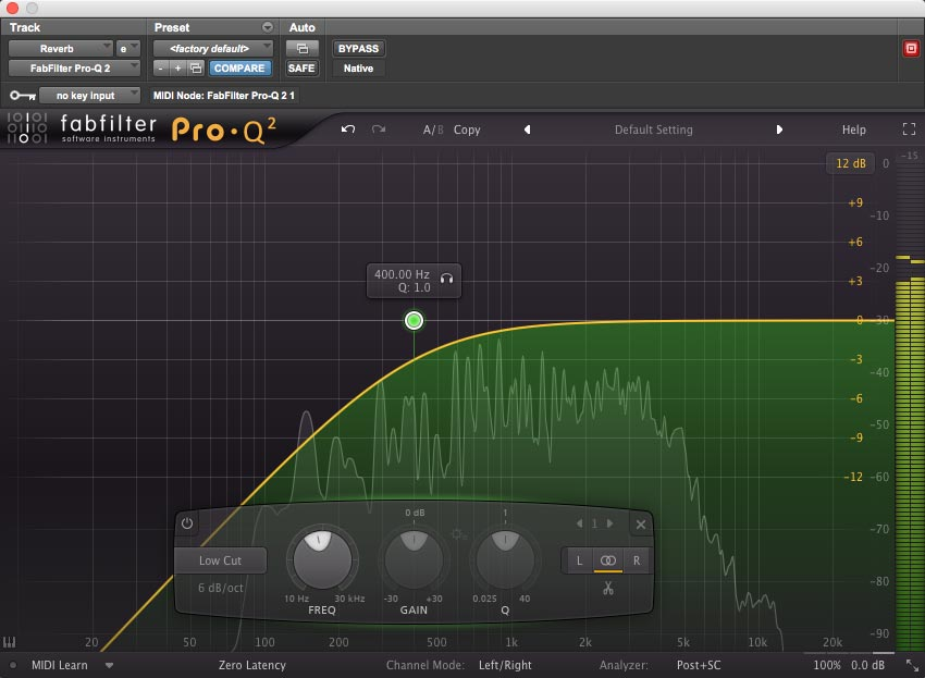 Rolling the low end off a reverb with FabFilter's Pro-Q 2