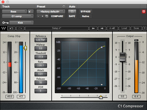 Using Waves' C1 to apply sidechain compression to an 808