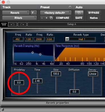 When you use reverb, the pre-delay control can help keep tracks up-front in the soundstage